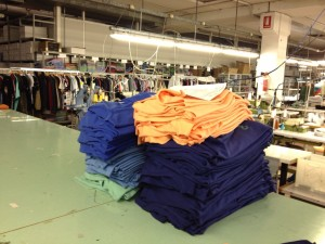 A newly embroidered batch of our Spring Summer 2013 Vests  waiting to be checked, ironed and packaged.